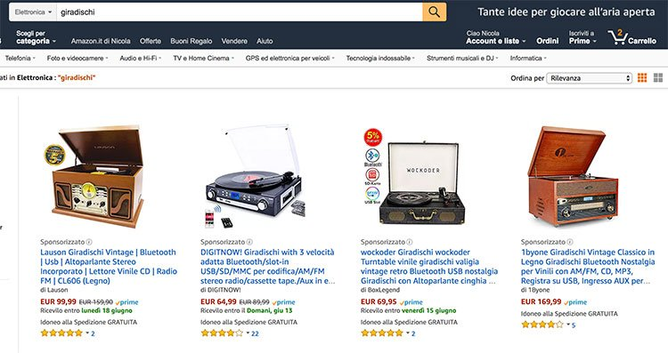 giradischi amazon